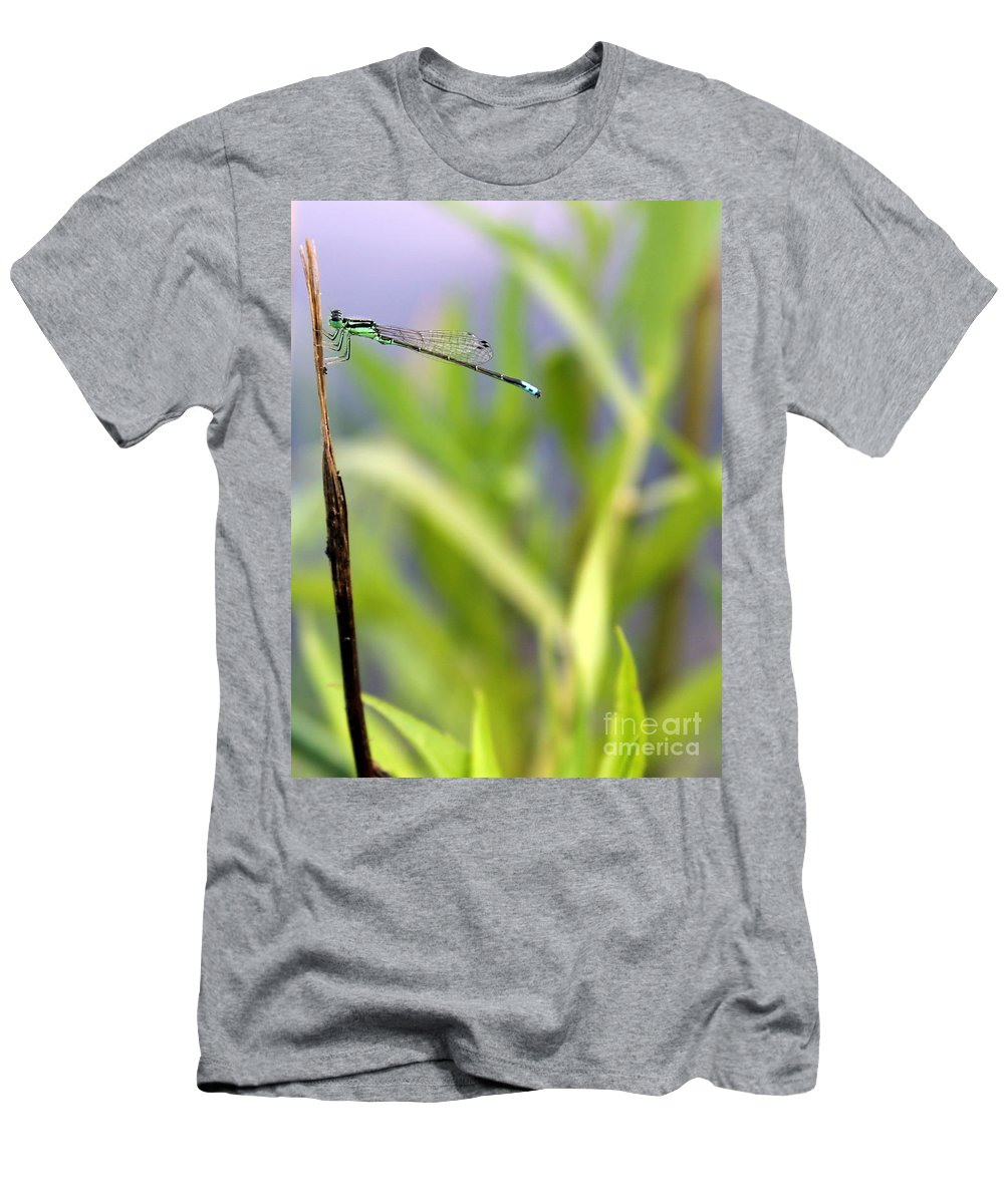 Damselfly Men's T-Shirt (Athletic Fit) featuring the photograph Damselfly Courting by Renee Croushore