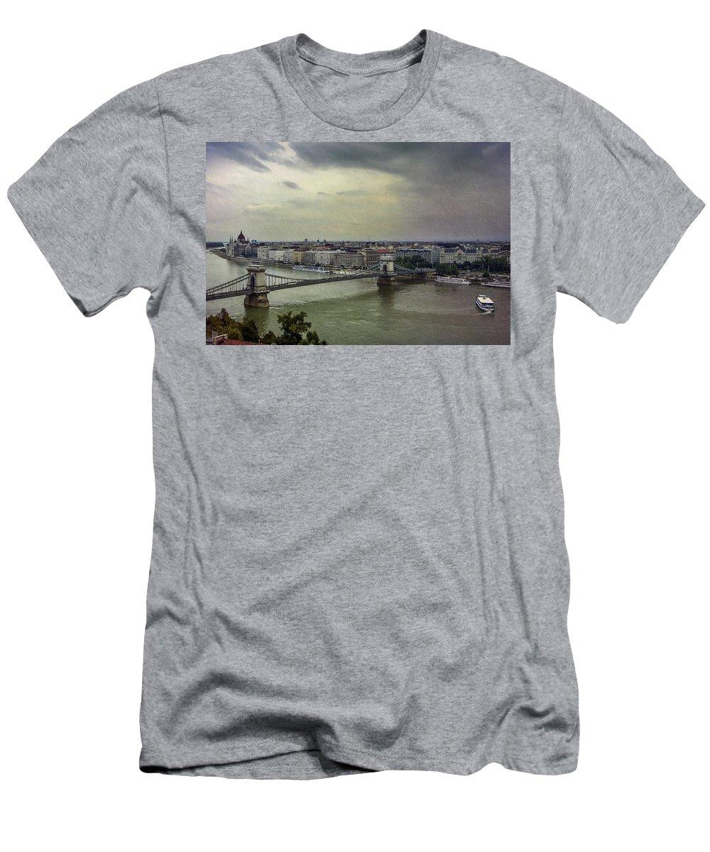 Danube Men's T-Shirt (Athletic Fit) featuring the photograph Danube River by Alfio Finocchiaro