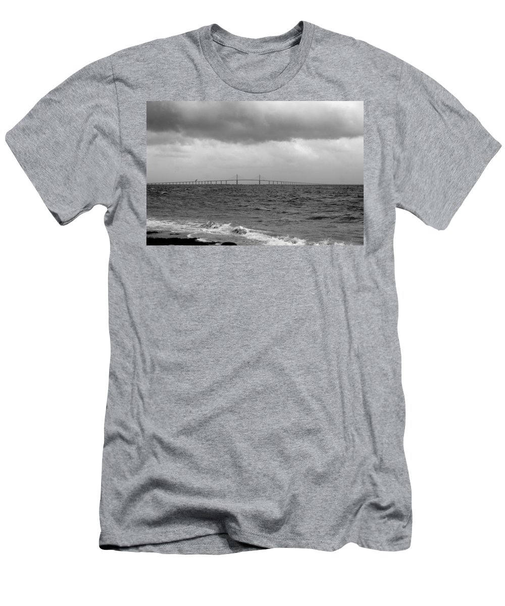 Sunshine Skyway Bridge Men's T-Shirt (Athletic Fit) featuring the photograph Dark Sky by Laurie Perry