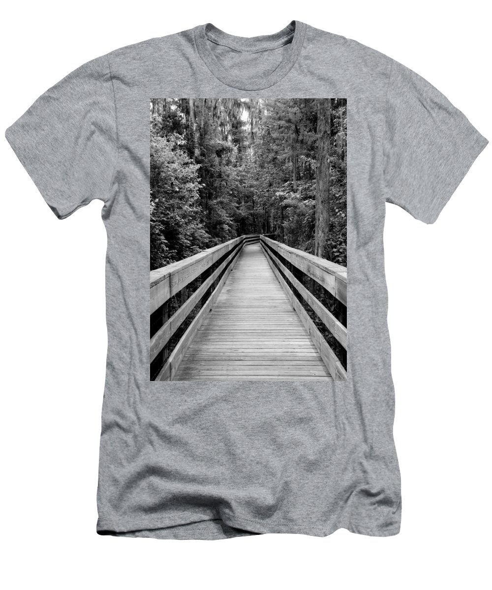 Florida Woods Men's T-Shirt (Athletic Fit) featuring the photograph Dark Stroll by Laurie Perry
