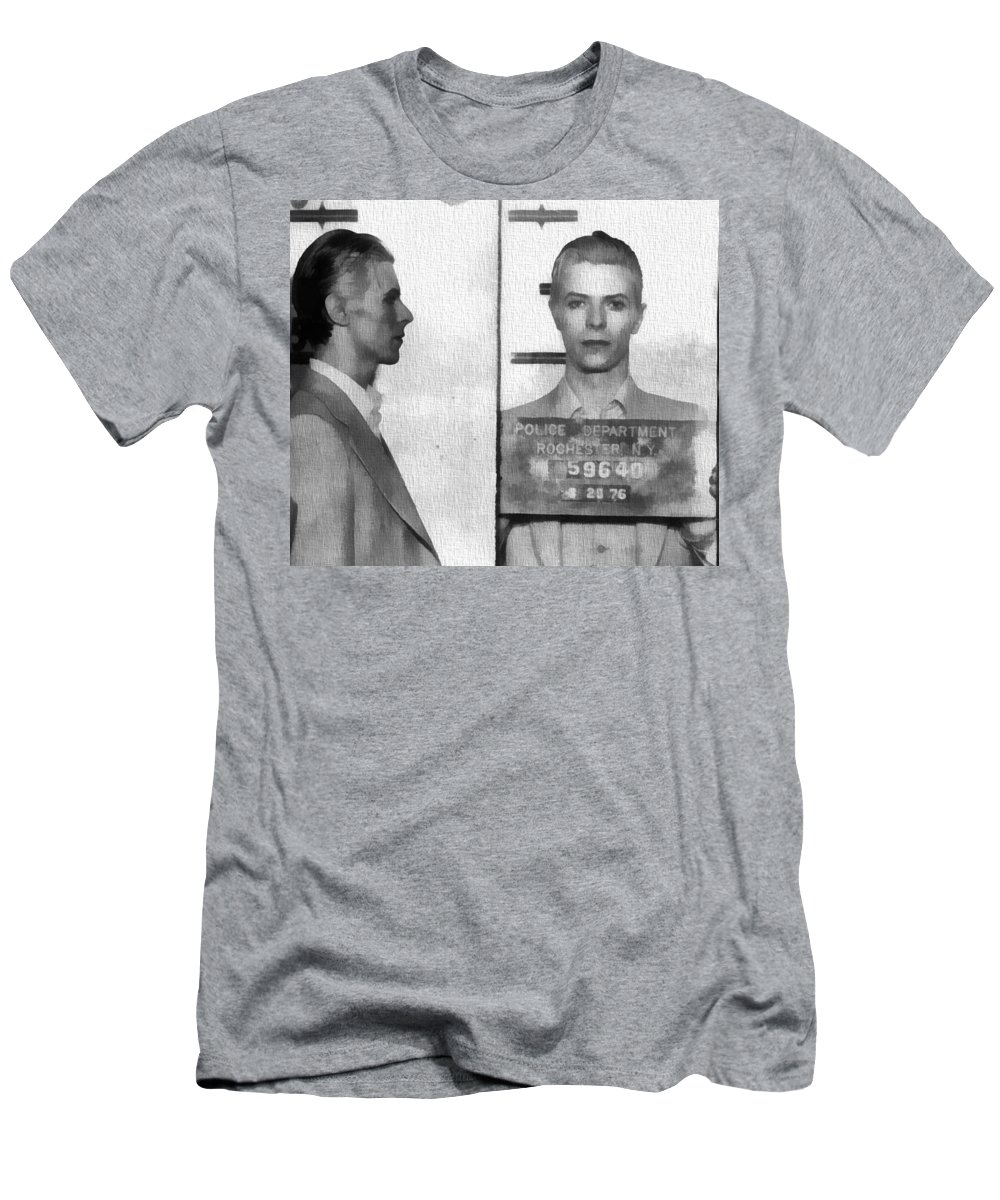 David Bowie Mug Shot Men's T-Shirt (Athletic Fit) featuring the photograph David Bowie Mug Shot by Dan Sproul