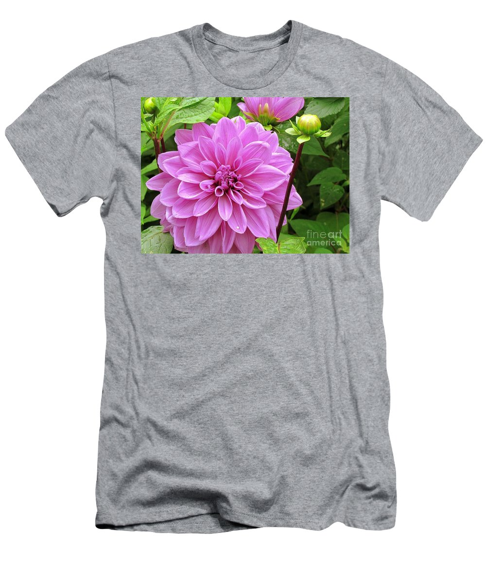 Flowers Men's T-Shirt (Athletic Fit) featuring the photograph Decadent Dahlia  by Elizabeth Dow