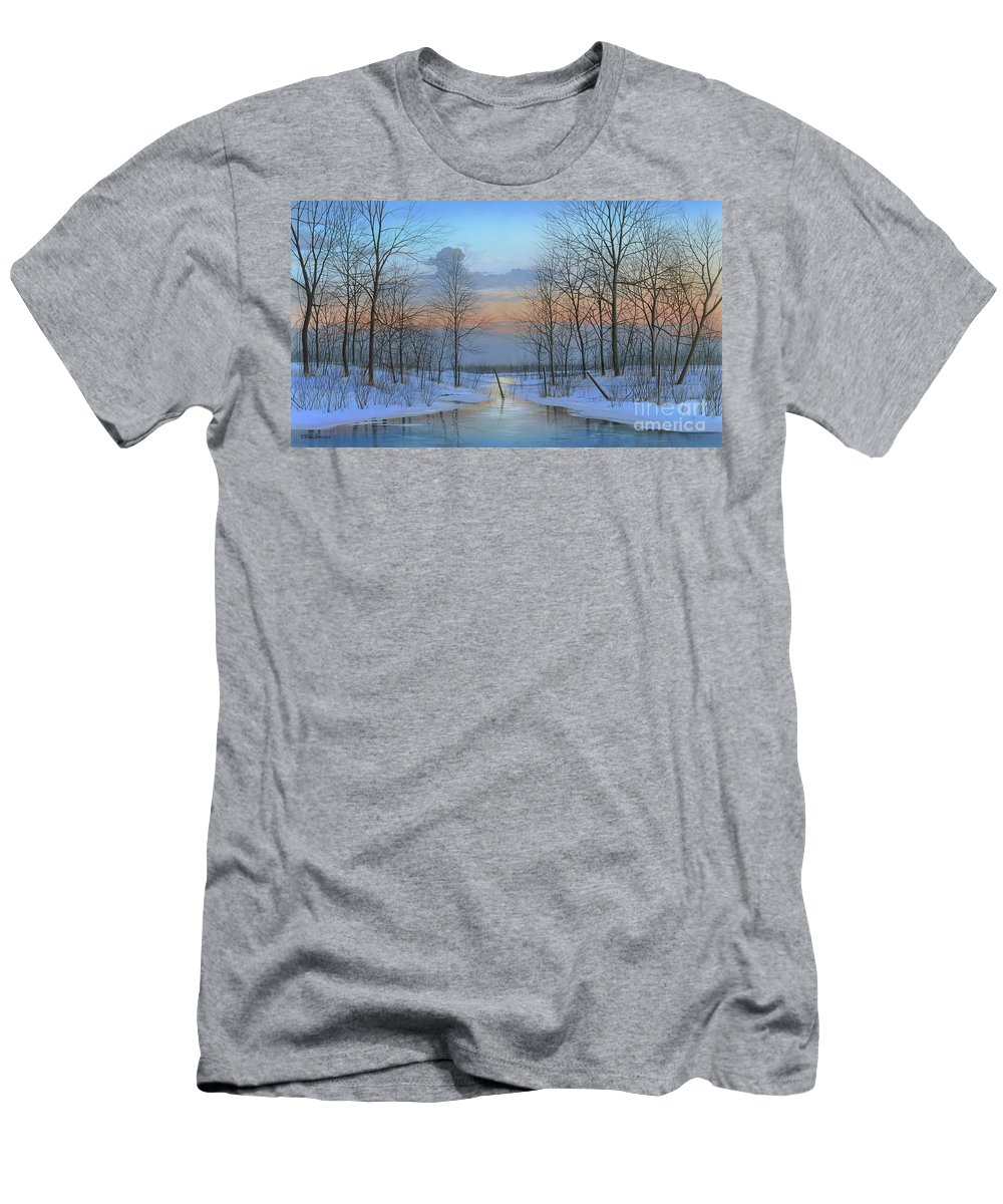 Winter Men's T-Shirt (Athletic Fit) featuring the painting December Solitude by Mike Brown