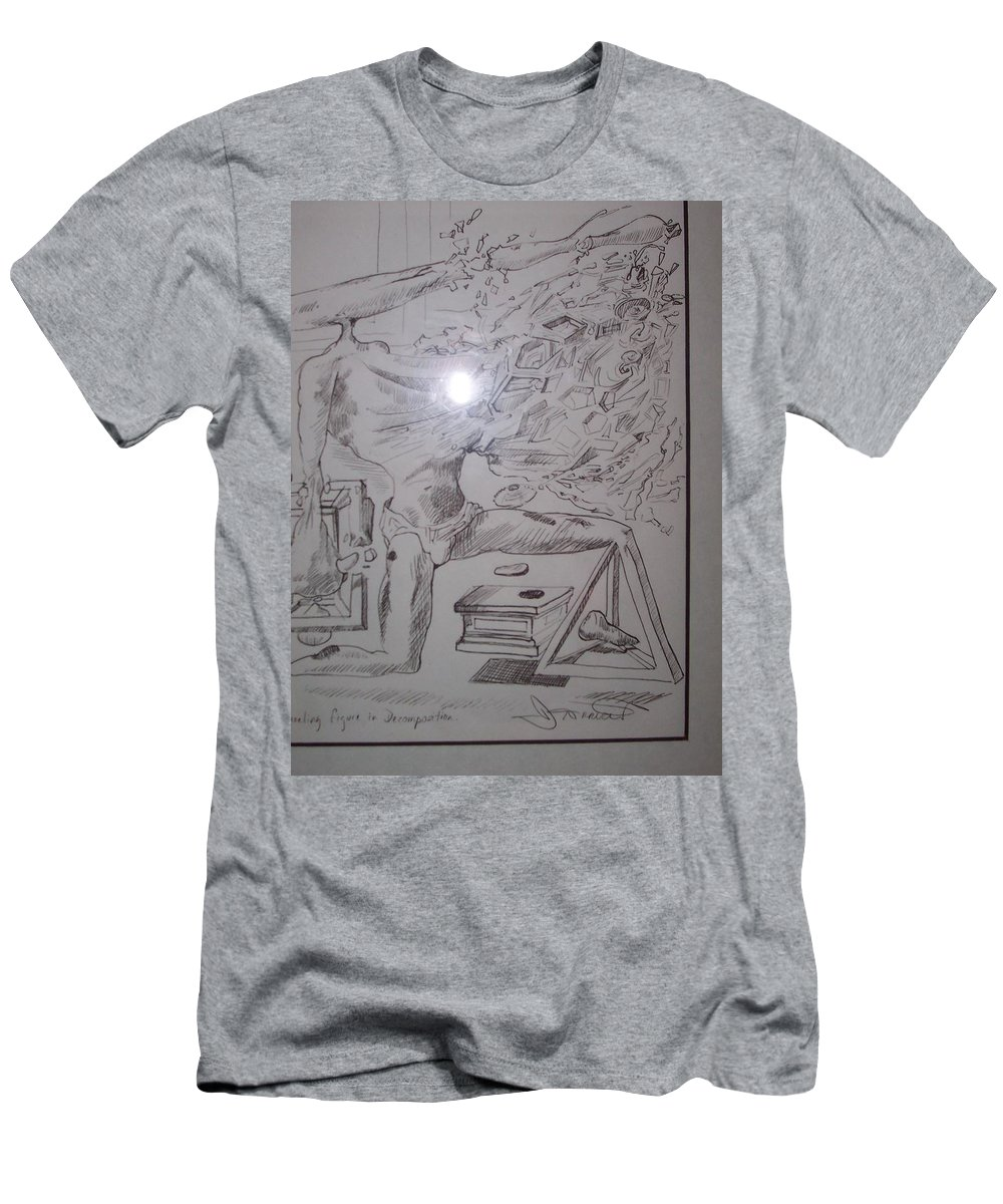 Men's T-Shirt (Athletic Fit) featuring the painting Decomposition Of Kneeling Man by Jude Darrien