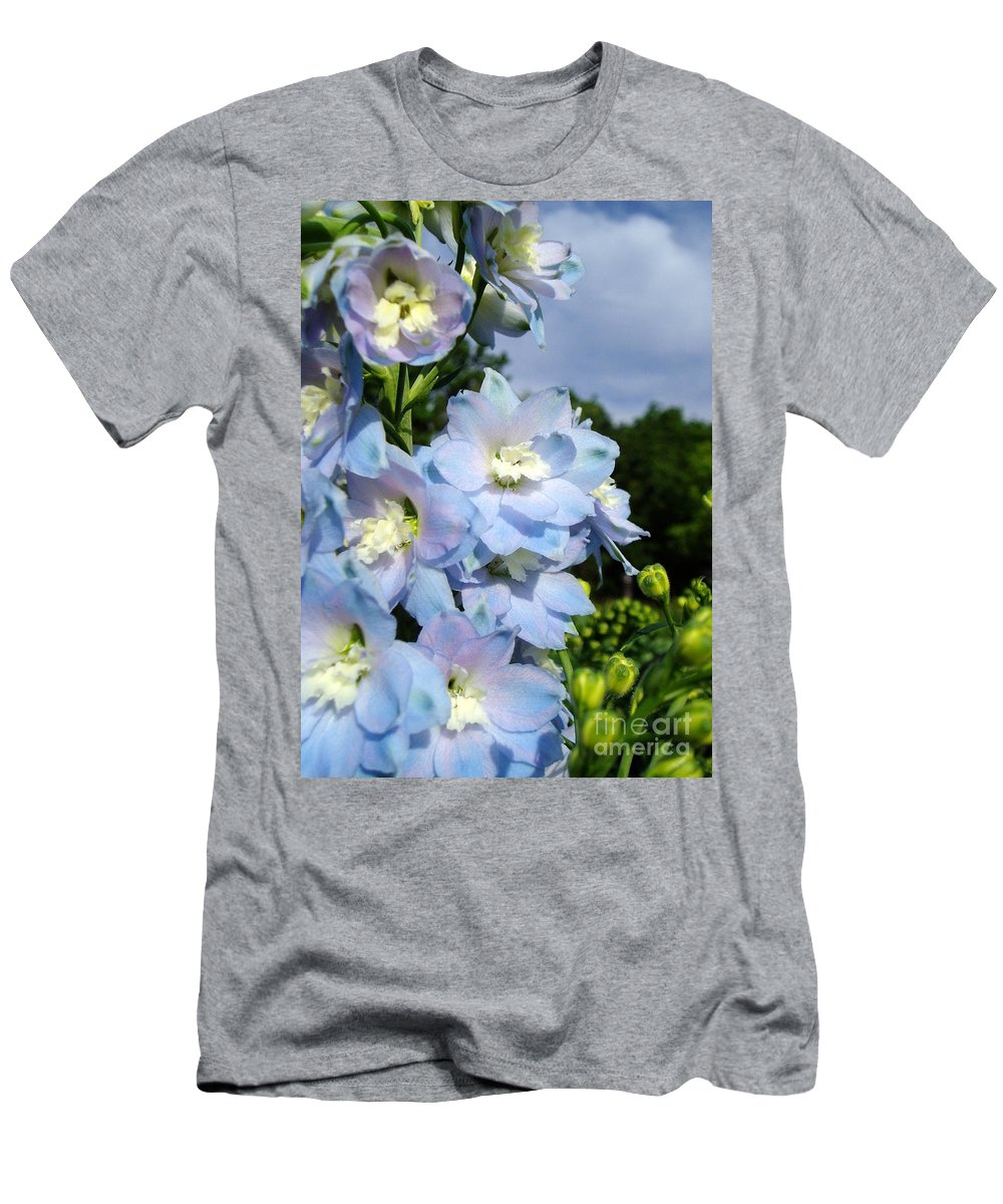 Men's T-Shirt (Athletic Fit) featuring the photograph Delphinium With Cloud by Renee Croushore