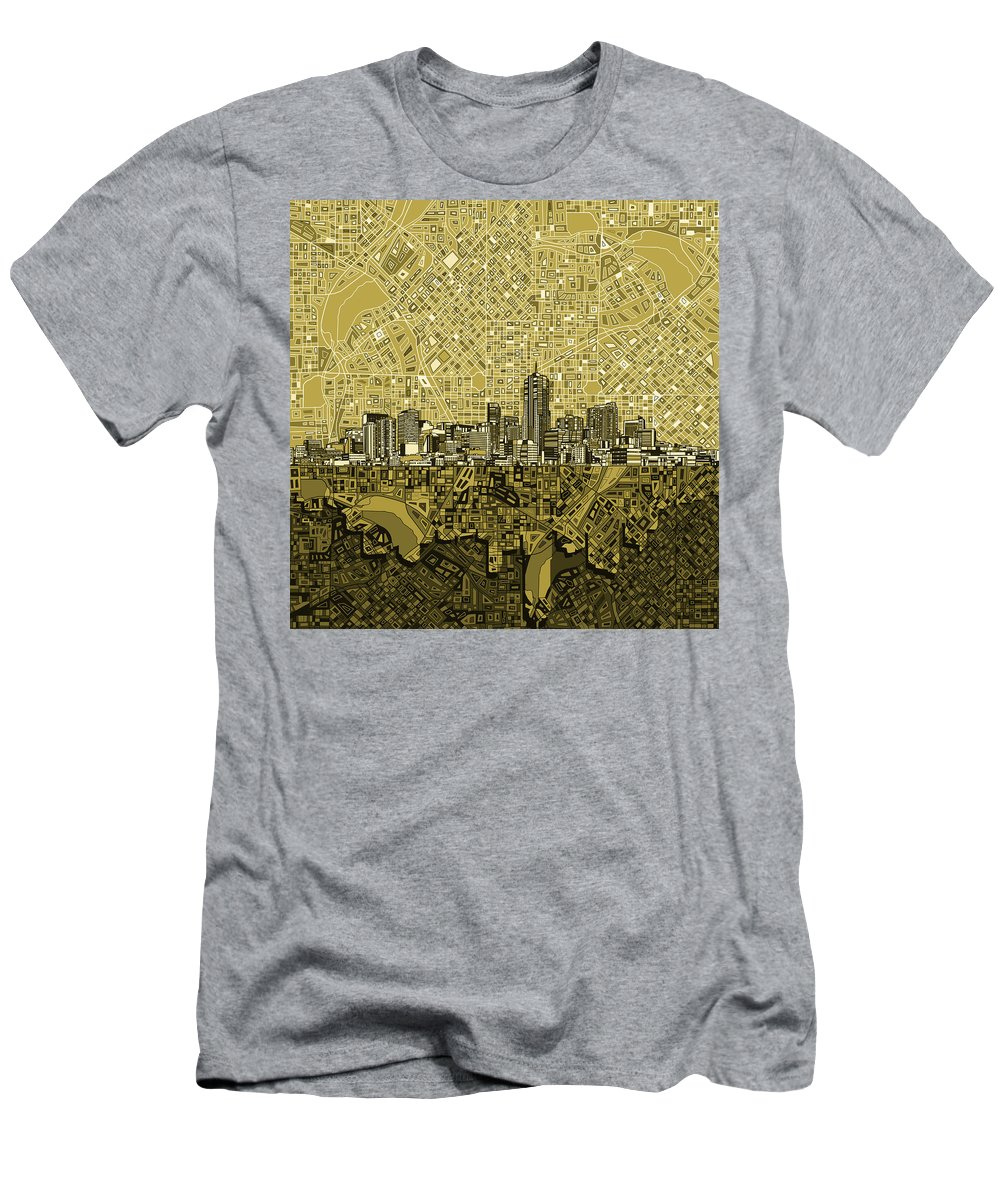 Denver Skyline Men's T-Shirt (Athletic Fit) featuring the painting Denver Skyline Abstract 8 by Bekim Art
