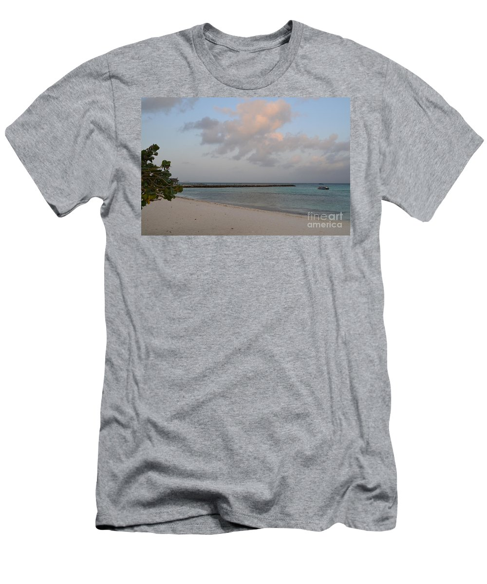 Aruba Men's T-Shirt (Athletic Fit) featuring the photograph Deserted Aruba Beach by DejaVu Designs
