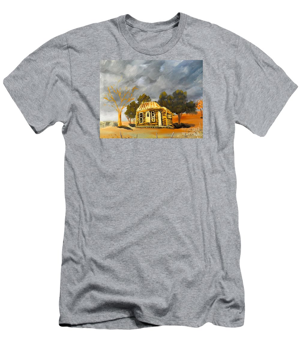 Impressionism Men's T-Shirt (Athletic Fit) featuring the painting Deserted Castlemain Farmhouse by Pamela Meredith