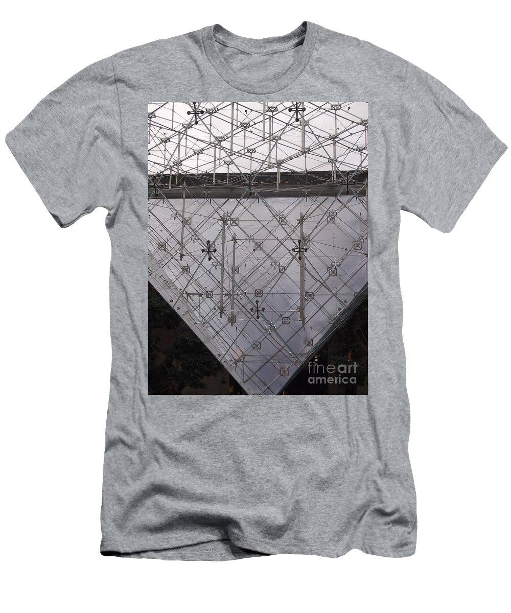 Architecture Men's T-Shirt (Athletic Fit) featuring the photograph Detail Of Pei Pyramid At Louvre Paris France by Thomas Marchessault