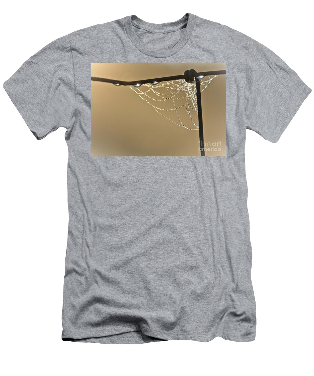 Men's T-Shirt (Athletic Fit) featuring the photograph Dew And Webs by Cheryl Baxter