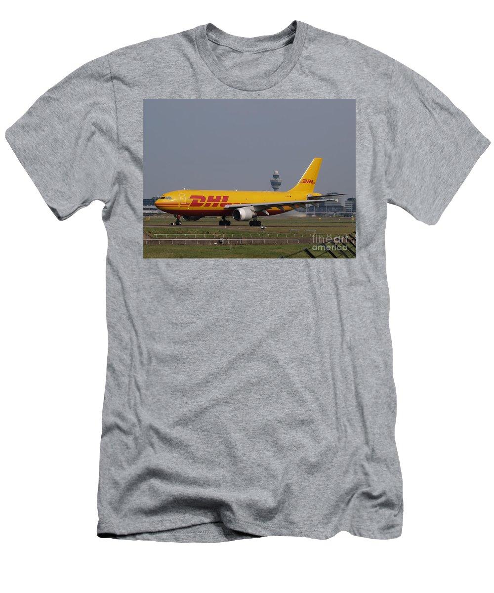 D-aean Airbus A300b4-622rf Dhl Air Taxiing 13july2013 -001air Men's T-Shirt (Athletic Fit) featuring the photograph Dhl Airbus A300 by Paul Fearn