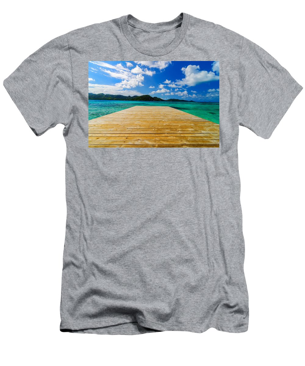 Bay Men's T-Shirt (Athletic Fit) featuring the photograph Dock And Beautiful Water by Jess Kraft