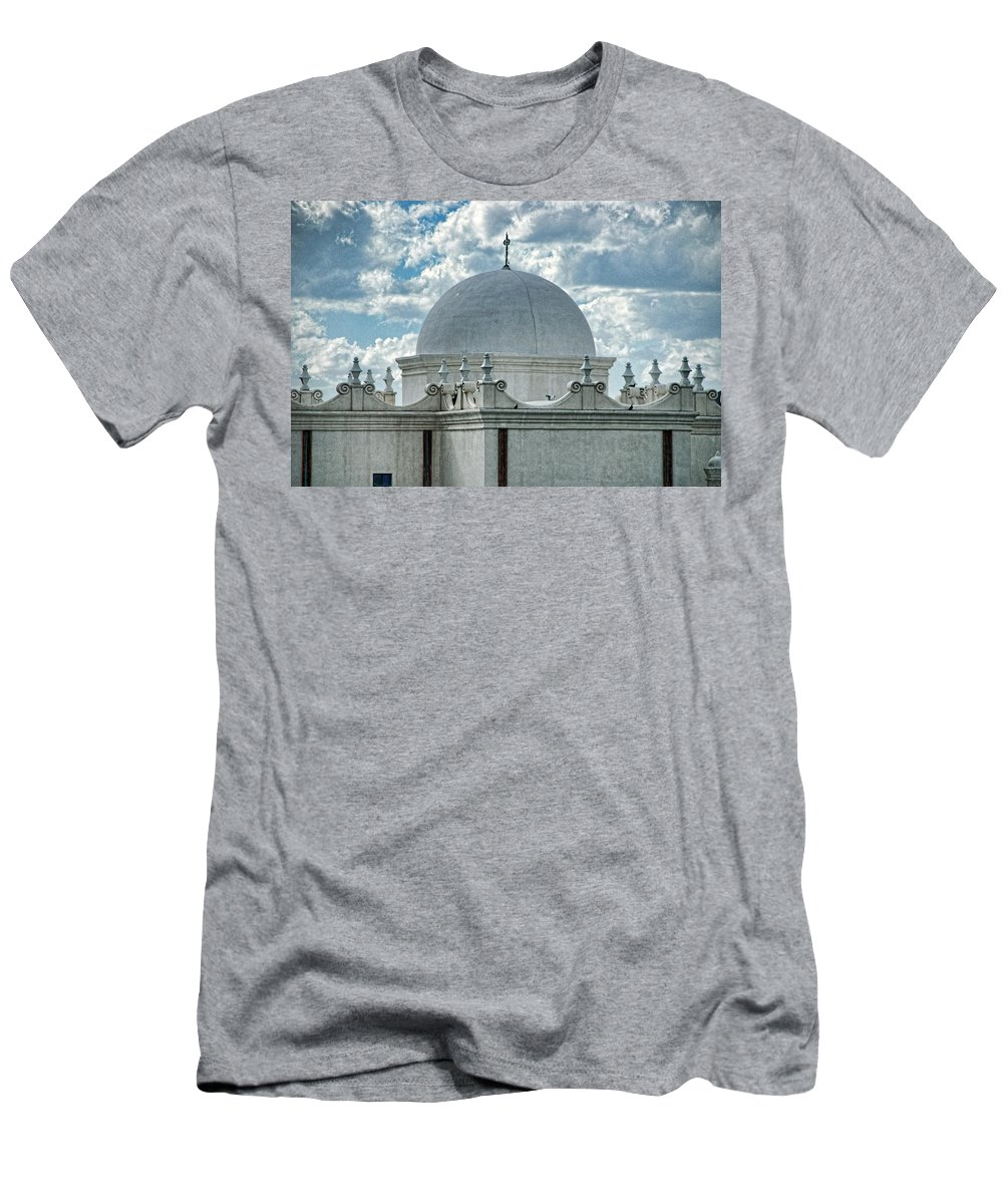 San Xavier De Bac Mission Men's T-Shirt (Athletic Fit) featuring the photograph Dome Of San Xavier - Tucson Az by Jon Berghoff