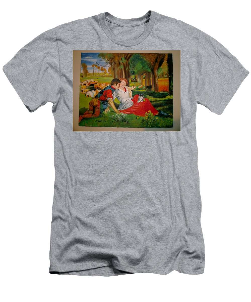 Men's T-Shirt (Athletic Fit) featuring the painting double portrait of freinds Gunner and Jessie by Jude Darrien