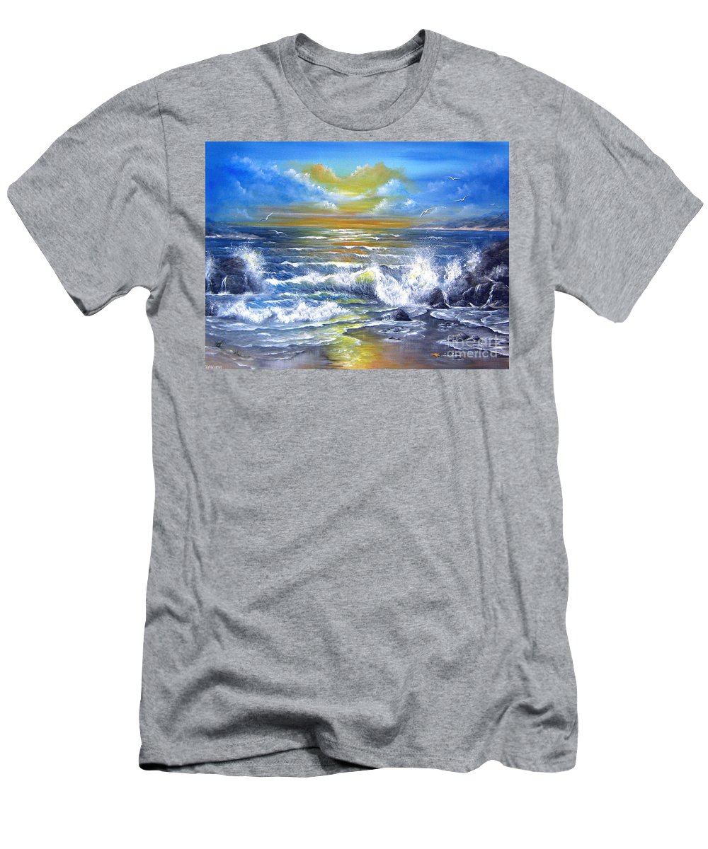 Sun Men's T-Shirt (Athletic Fit) featuring the painting Down Came The Sun by Patrice Torrillo