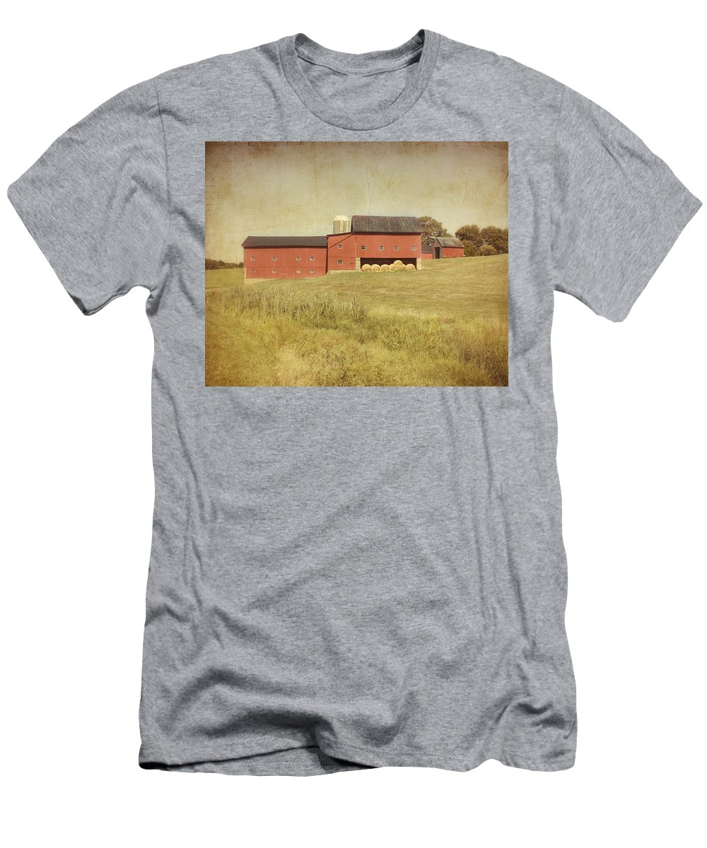 Farm Men's T-Shirt (Athletic Fit) featuring the photograph Down On The Farm by Kim Hojnacki