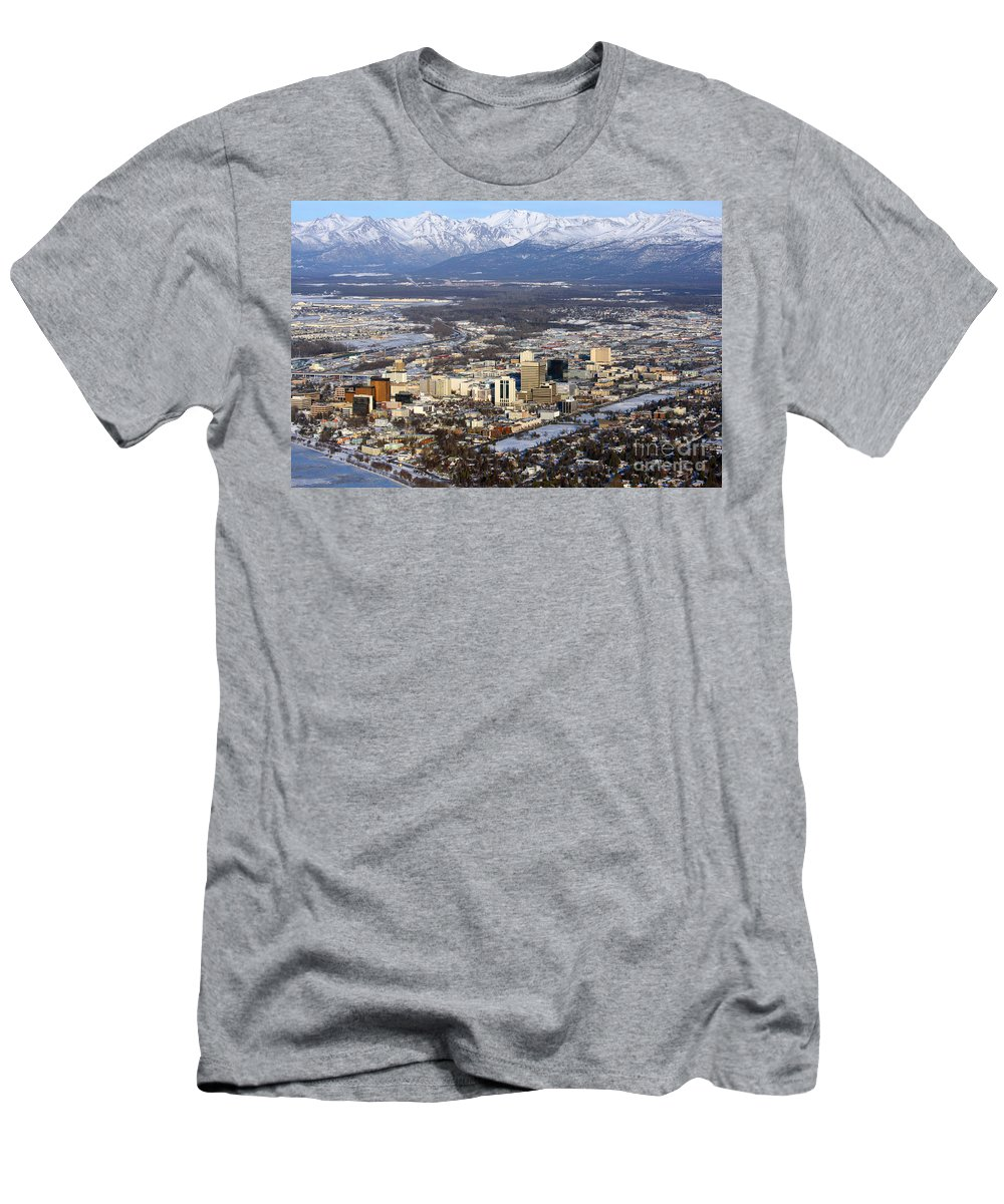 Aerial Men's T-Shirt (Athletic Fit) featuring the photograph Downtown Anchorage by Bill Cobb