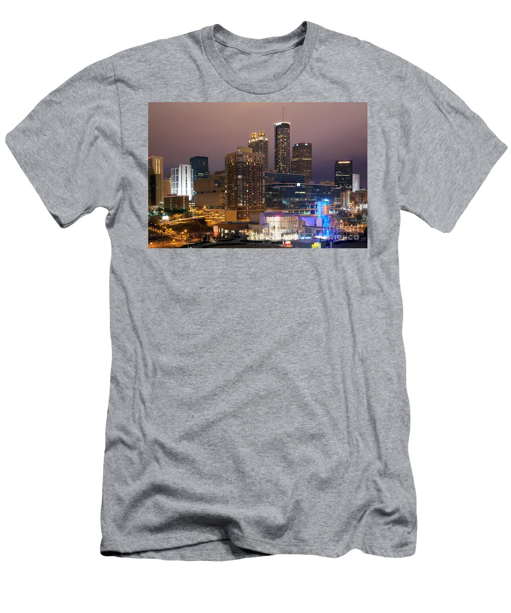 Aquarium Men's T-Shirt (Athletic Fit) featuring the photograph Downtown Atlanta Skyline At Dusk by Bill Cobb