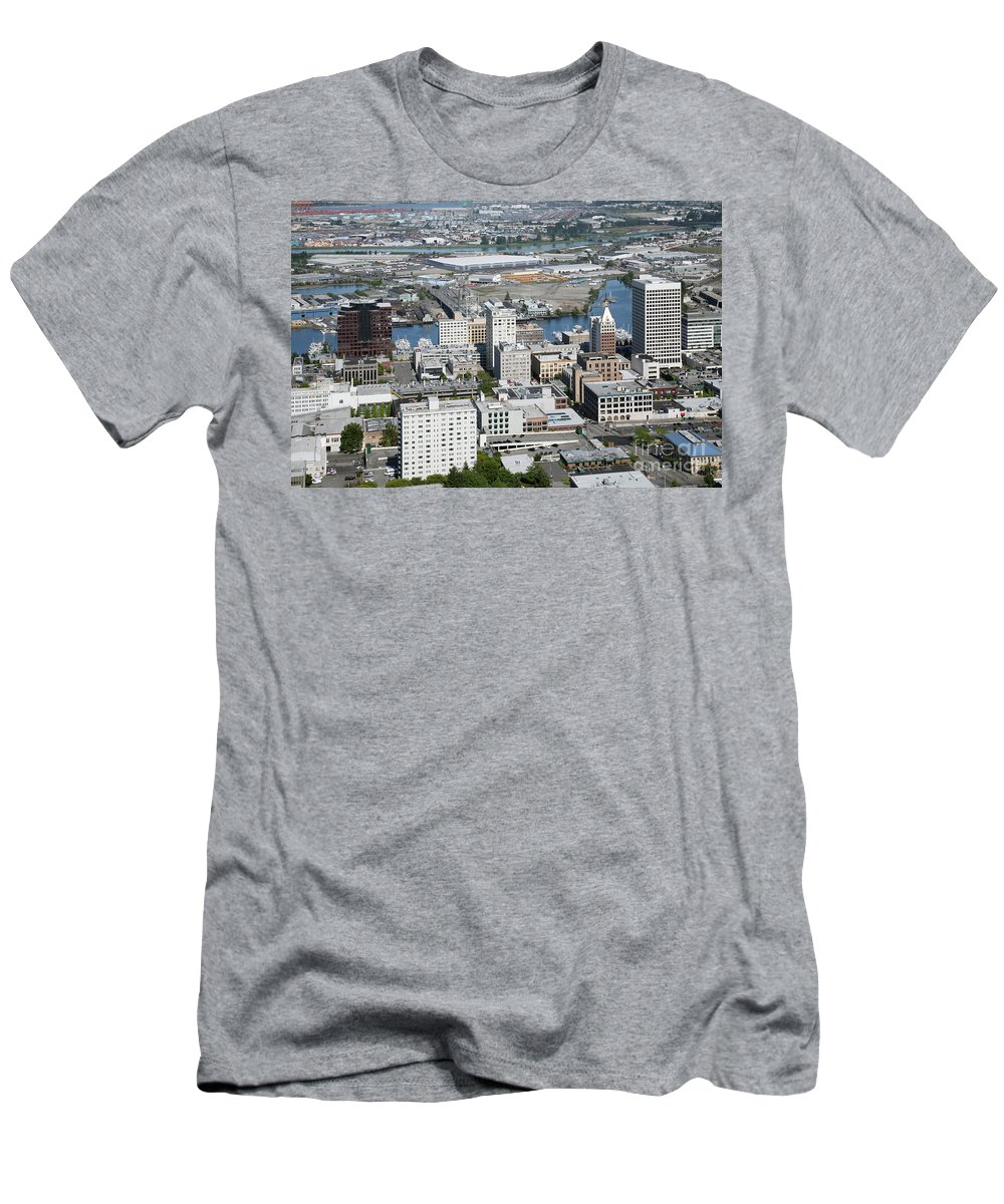 Aerial Men's T-Shirt (Athletic Fit) featuring the photograph Downtown Tacoma Washington by Bill Cobb