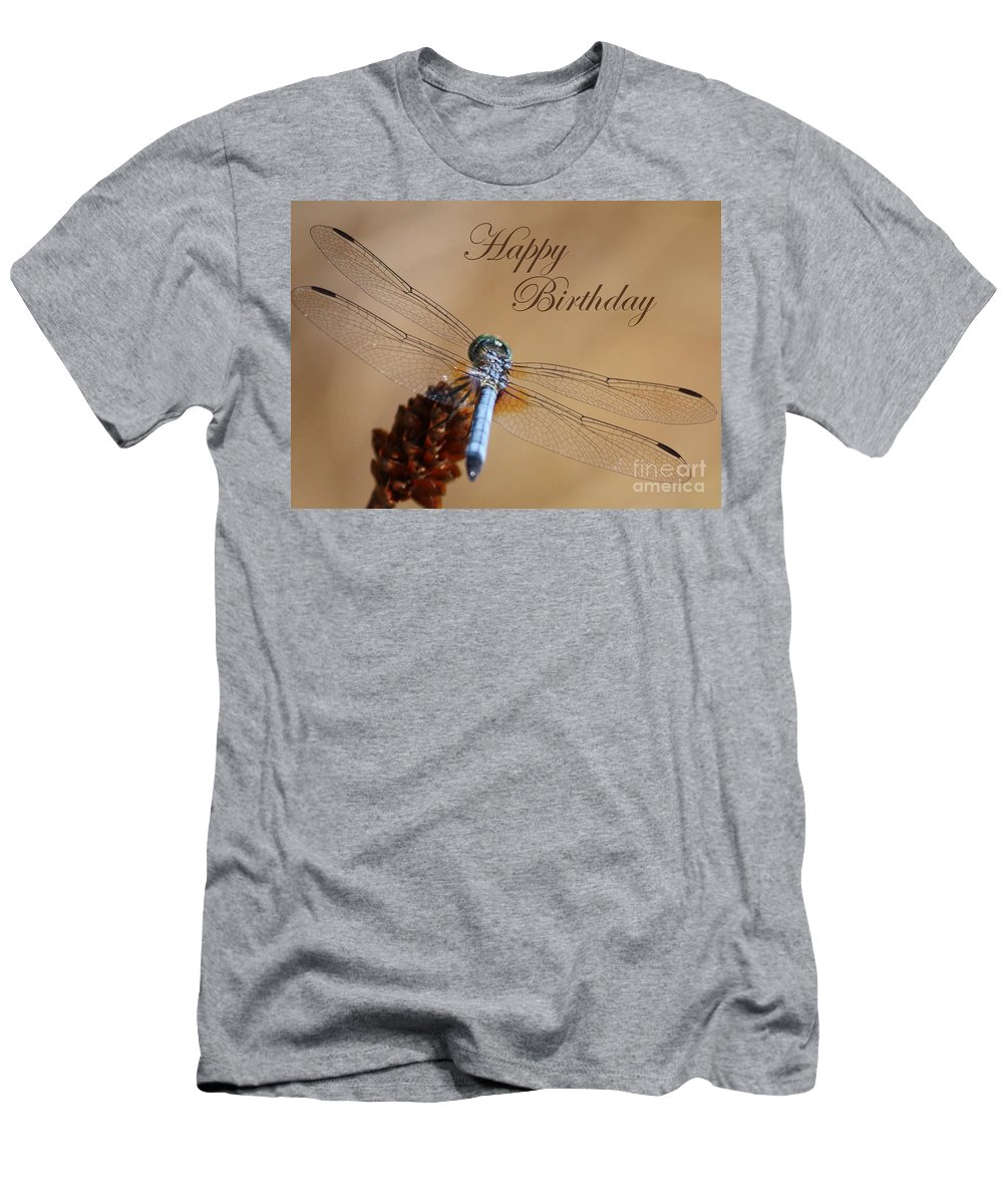 Birthday Card Men's T-Shirt (Athletic Fit) featuring the photograph Dragonfly Birthday Card by Carol Groenen
