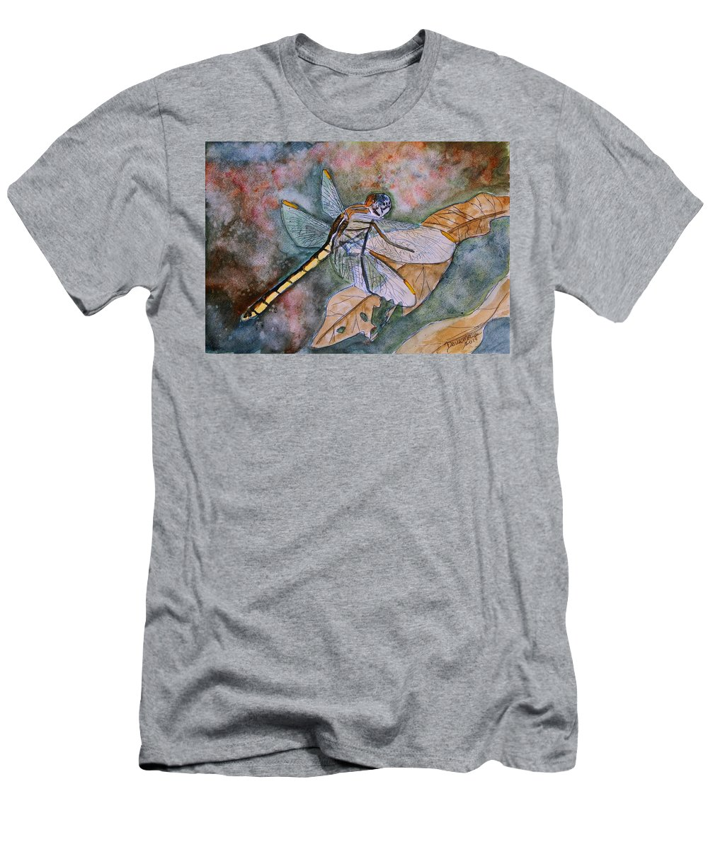 Dragonfly T-Shirt featuring the painting Dragonfly by Derek Mccrea