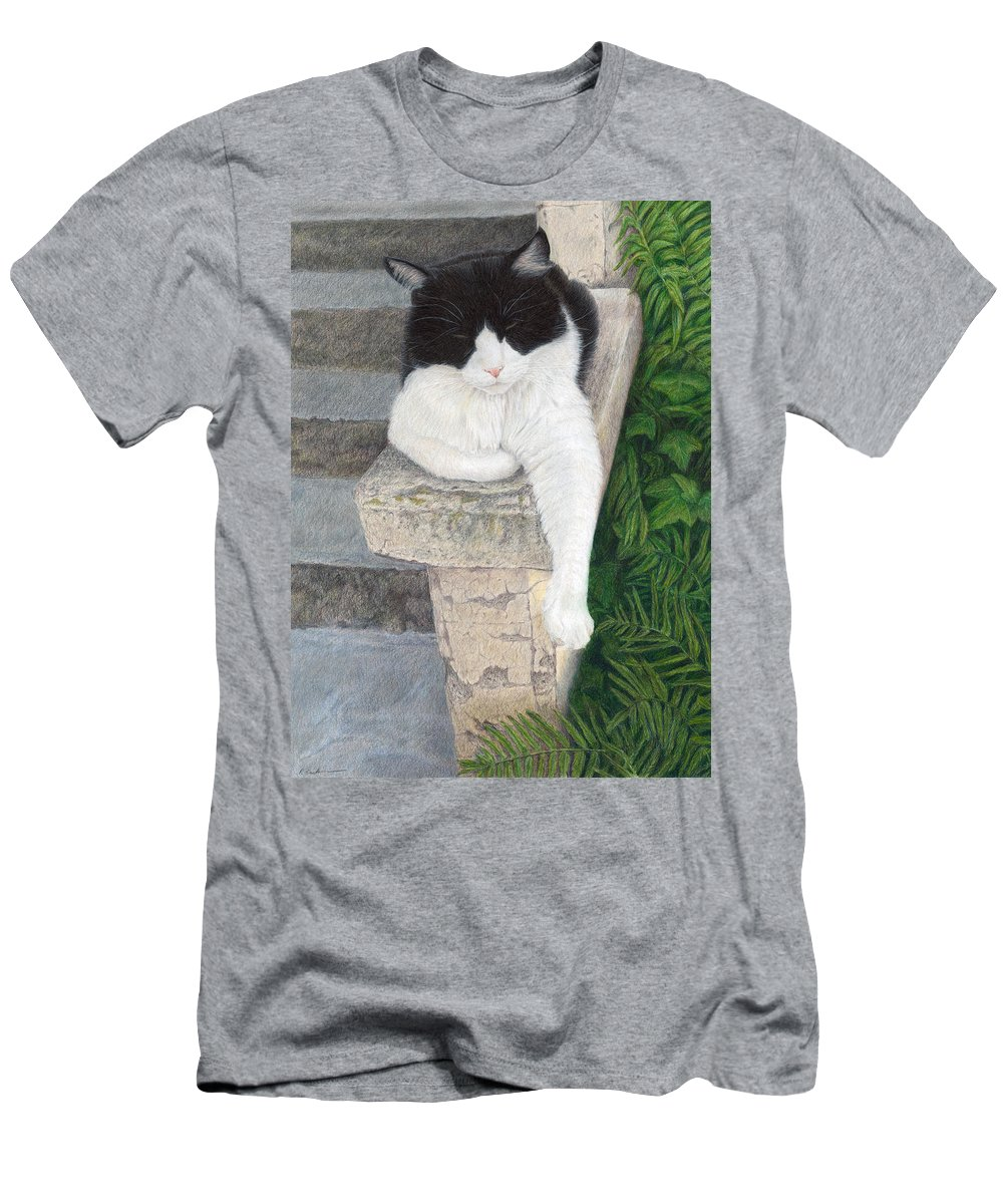 Cat Men's T-Shirt (Athletic Fit) featuring the painting Dreaming Of Stone Lions by Pat Erickson