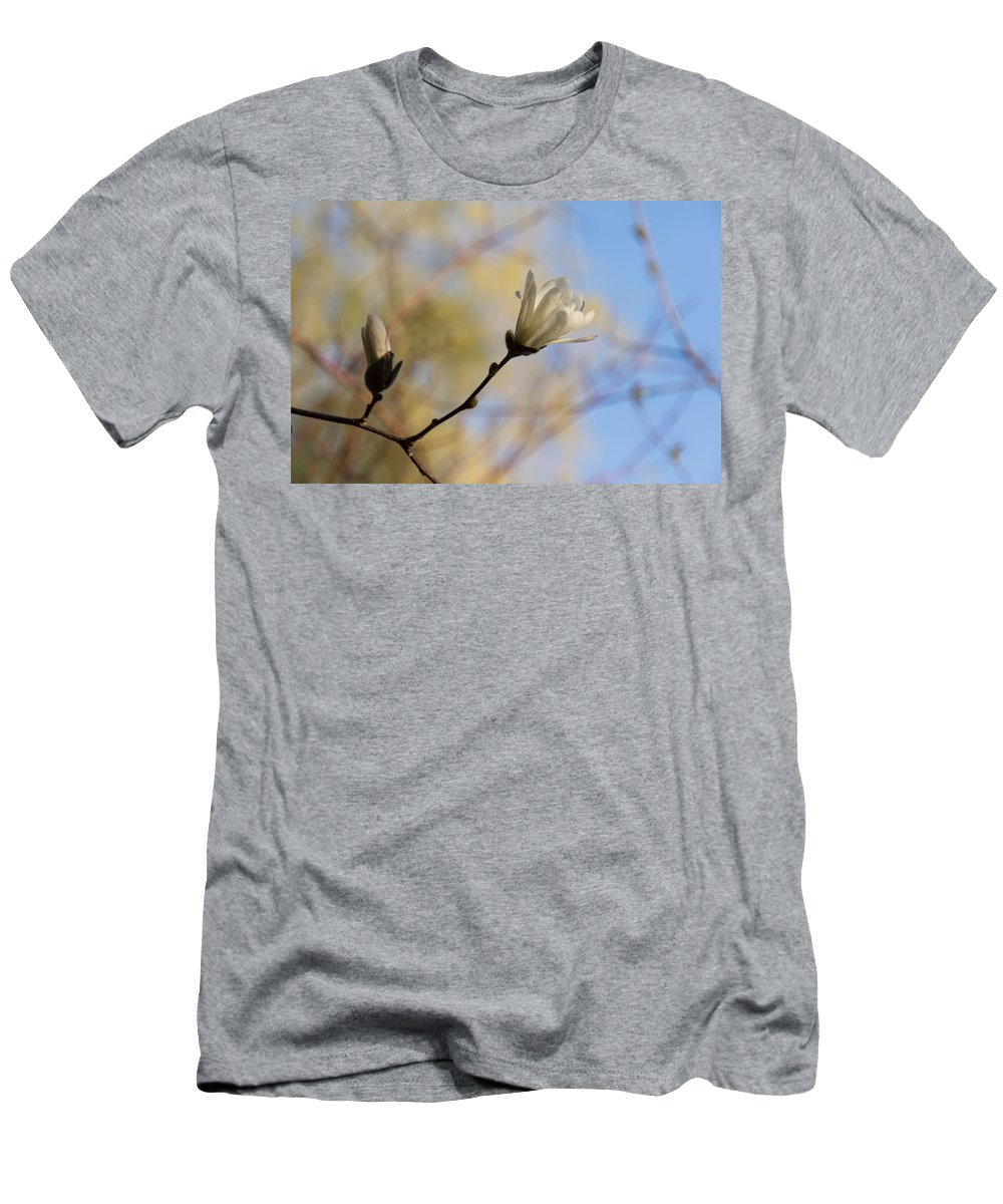 Georgia Mizuleva Men's T-Shirt (Athletic Fit) featuring the photograph Dreamy Wild Magnolia In The Forest by Georgia Mizuleva