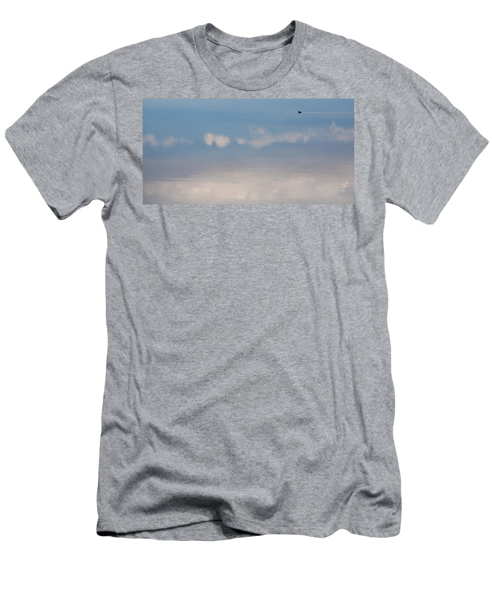 Big Sky Men's T-Shirt (Athletic Fit) featuring the photograph Duck Tail Contrail by Peter Tellone