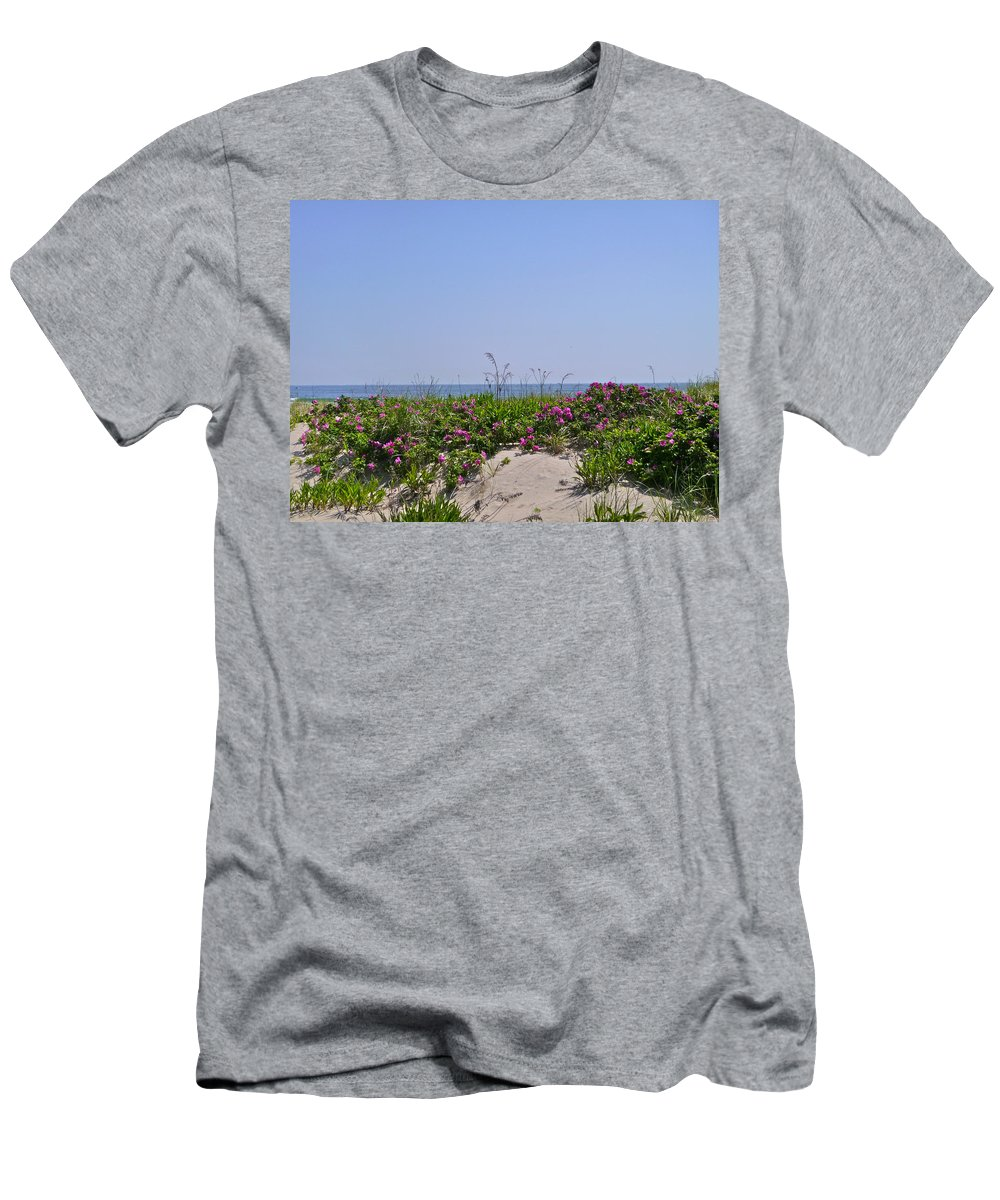 Flowers Men's T-Shirt (Athletic Fit) featuring the photograph Dune Roses by Ellen Paull