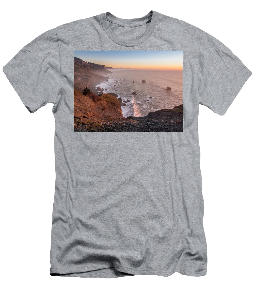 Redwood National Park Men's T-Shirt (Athletic Fit) featuring the photograph Dusk On The Northcoast by Greg Nyquist