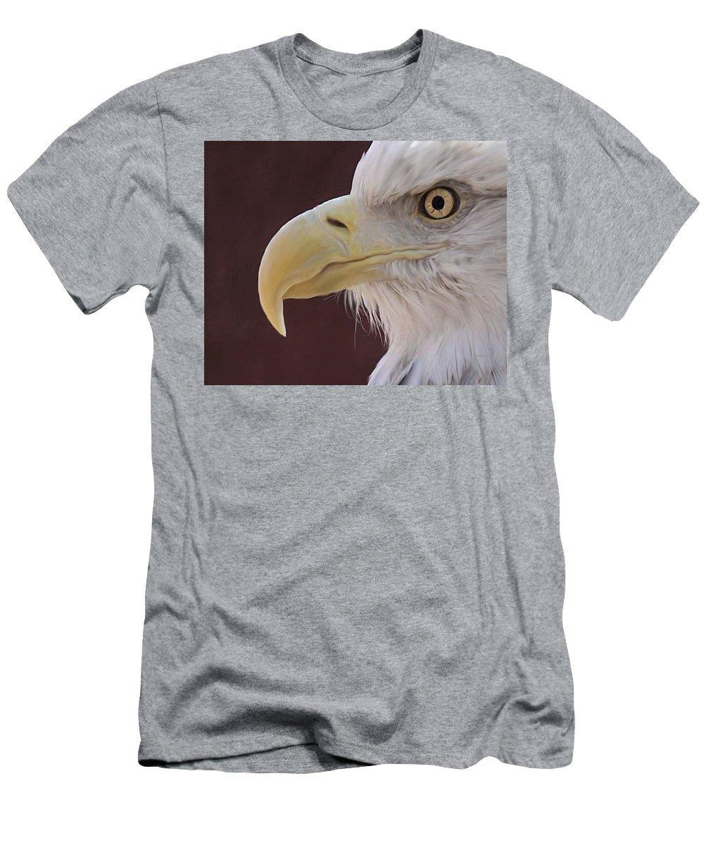 Birds Men's T-Shirt (Athletic Fit) featuring the digital art Eagle Portrait Freehand by Ernie Echols