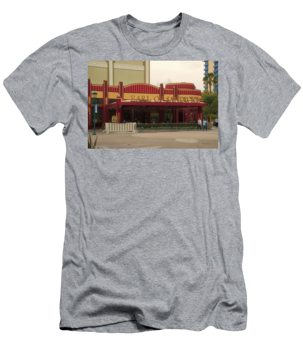 Disney Men's T-Shirt (Athletic Fit) featuring the photograph Earl Of Sandwich Downtown Disneyland by Thomas Woolworth
