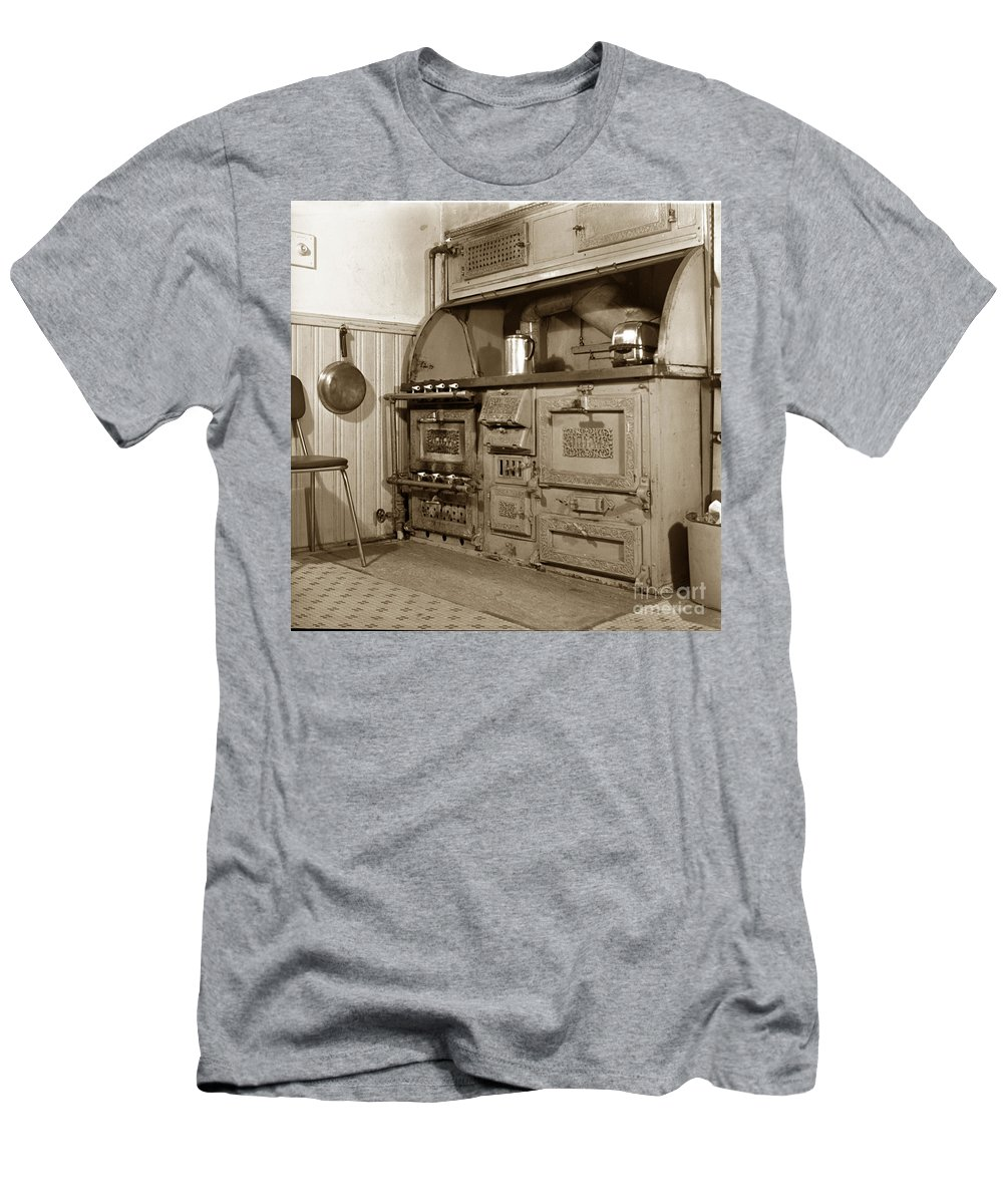 Early Men's T-Shirt (Athletic Fit) featuring the photograph Early Kitchen With A Gas Stove 1920 by California Views Mr Pat Hathaway Archives