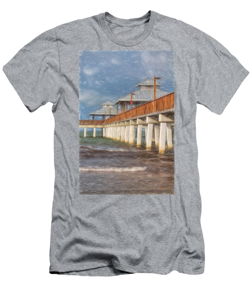 Pier Men's T-Shirt (Athletic Fit) featuring the photograph Early Morning At Fort Myers Beach by Kim Hojnacki