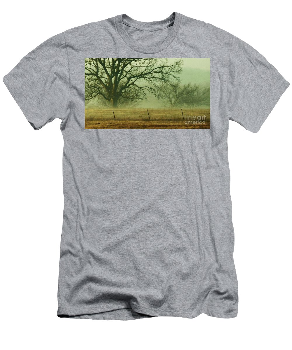 Landscape Men's T-Shirt (Athletic Fit) featuring the photograph Early Morning Fog 019 by Robert ONeil
