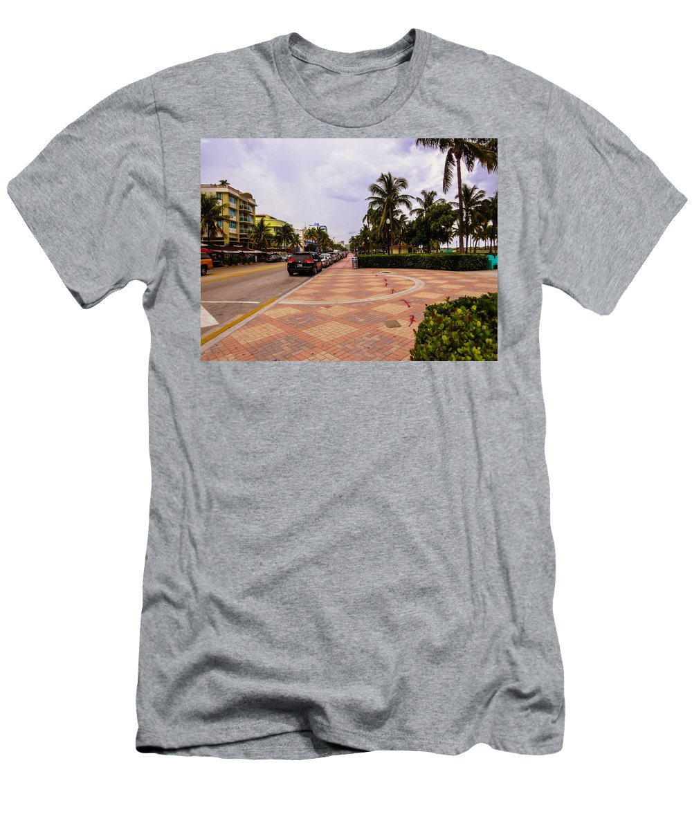 Miami Beach Men's T-Shirt (Athletic Fit) featuring the photograph Early Morning In Miami Beach by Zina Stromberg