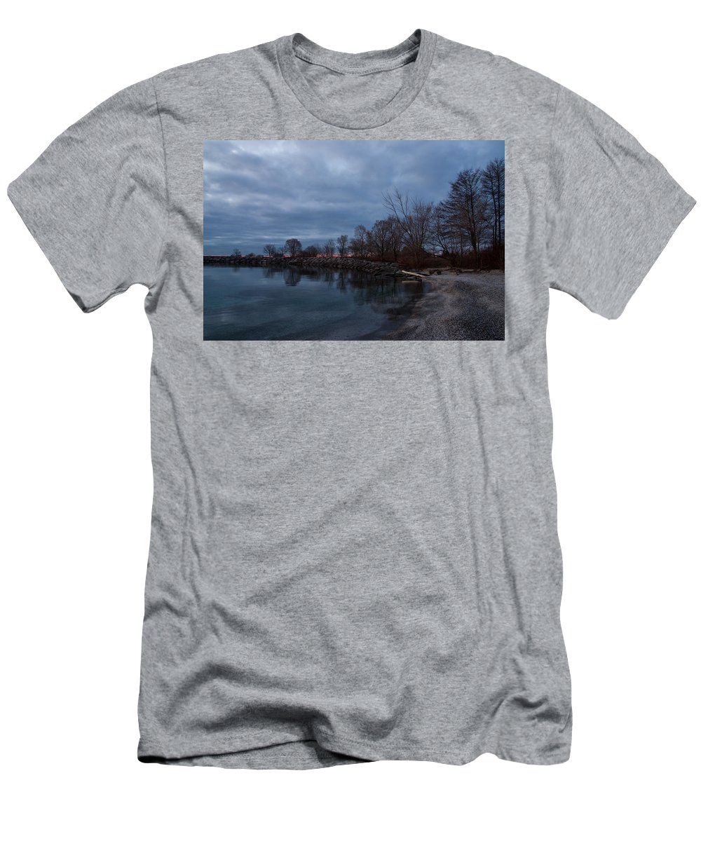 Early Morning Men's T-Shirt (Athletic Fit) featuring the photograph Early Still And Transparent - On The Shores Of Lake Ontario In Toronto by Georgia Mizuleva