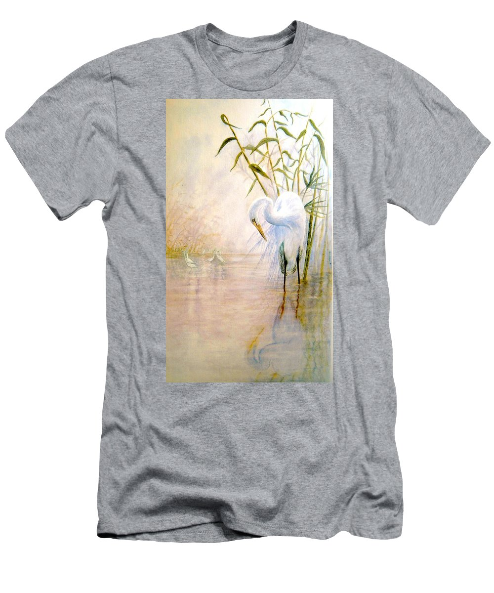 Eret; Bird; Low Country Men's T-Shirt (Athletic Fit) featuring the painting Egret by Ben Kiger