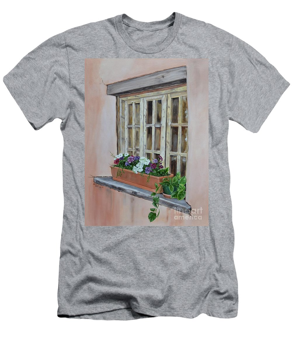 Adobe Men's T-Shirt (Athletic Fit) featuring the painting Elayne Look Through The Window by Mary Rogers