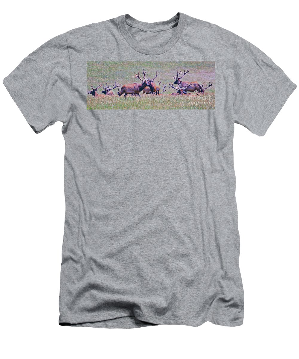 Animals Men's T-Shirt (Athletic Fit) featuring the photograph Elk On The Plains 3 by Alan Look