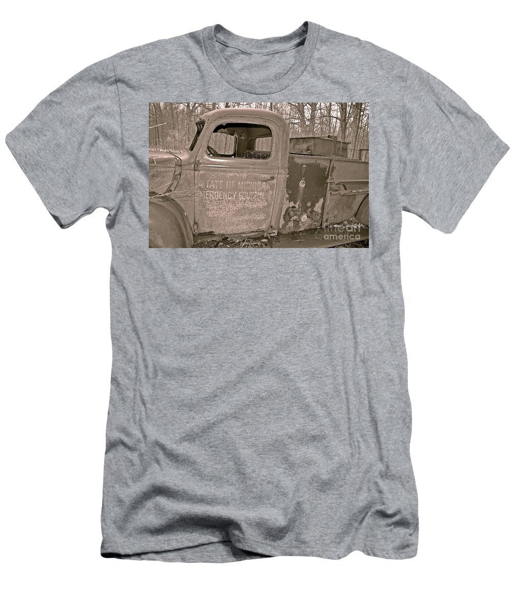 Firetruck Men's T-Shirt (Athletic Fit) featuring the photograph Emergency Truck by Randy J Heath