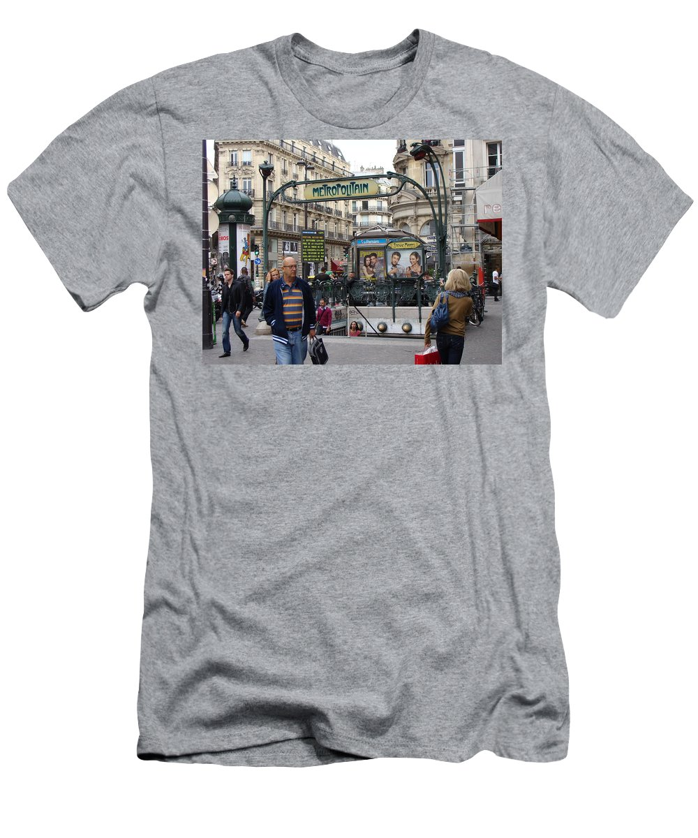 Paris Men's T-Shirt (Athletic Fit) featuring the photograph Entrance To The Paris Metro by Ira Shander