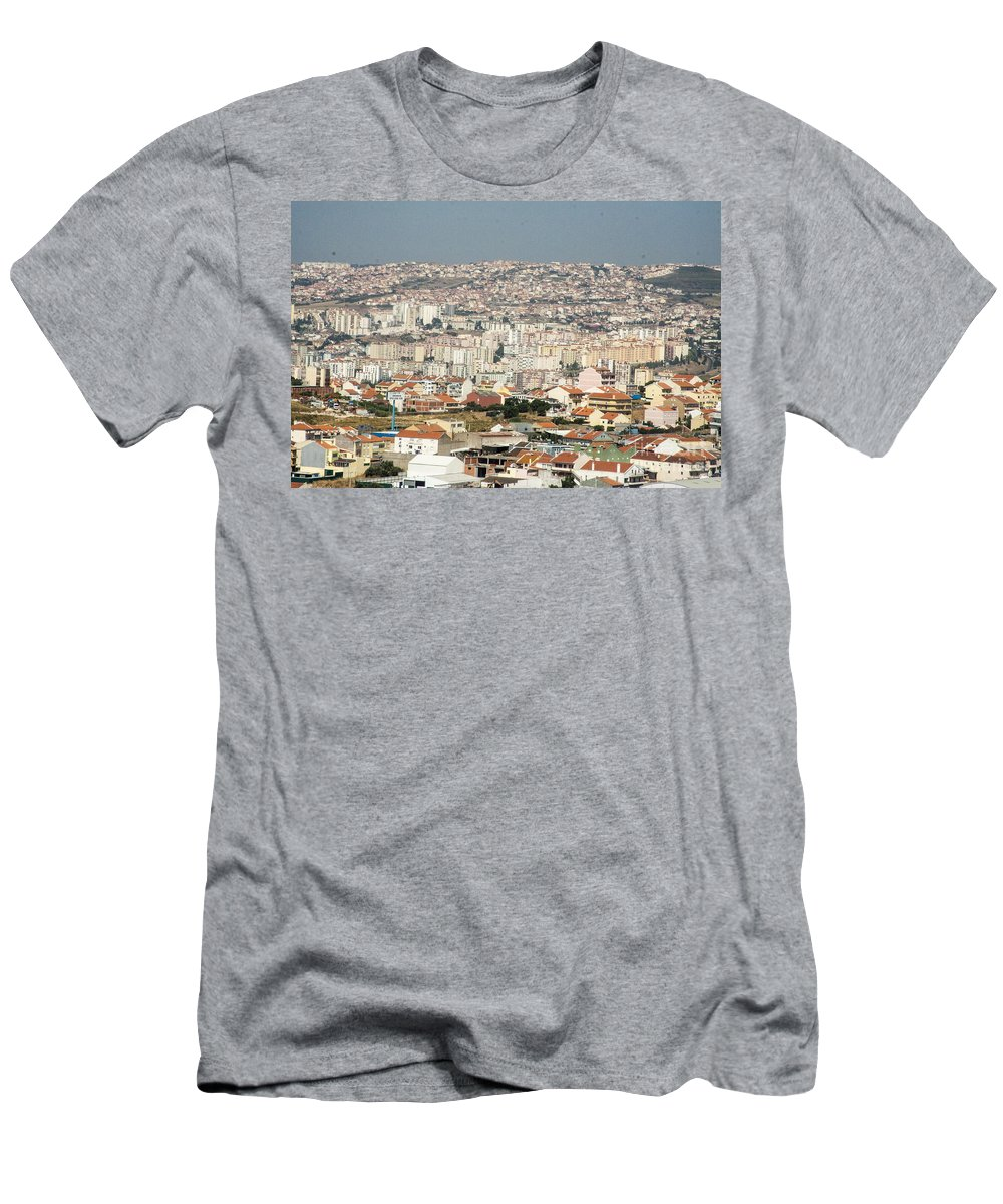 Flying Men's T-Shirt (Athletic Fit) featuring the photograph Exiting Lisbon By Plane by Darleen Stry