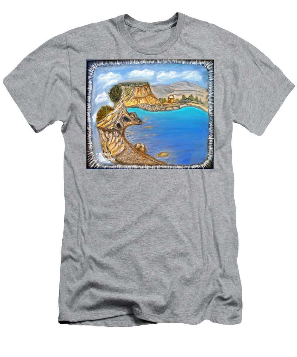Exotic Beach Men's T-Shirt (Athletic Fit) featuring the painting Exotic Beach Near Limassol by Augusta Stylianou