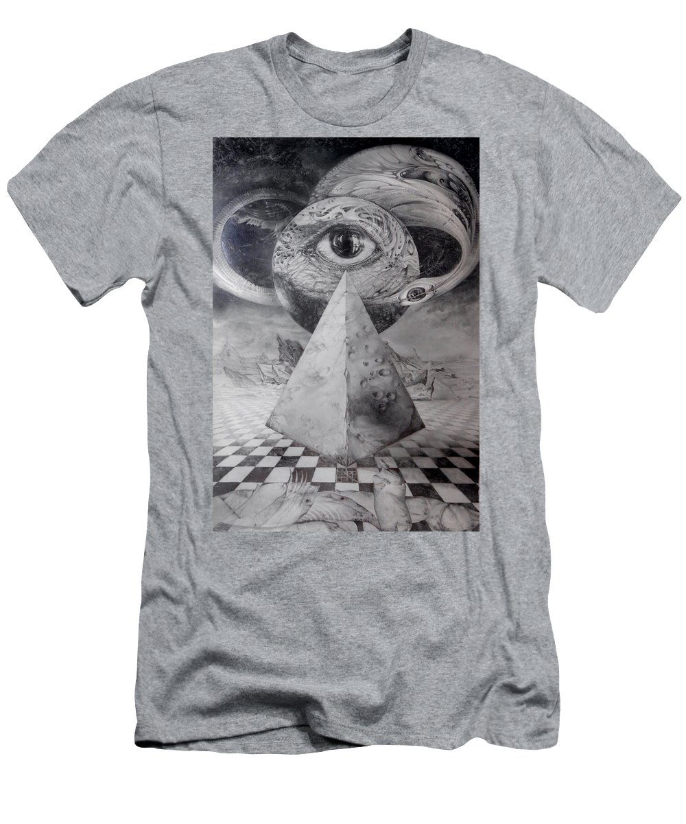 Drawing T-Shirt featuring the drawing Eye Of The Dark Star - Journey Through The Wormhole by Otto Rapp