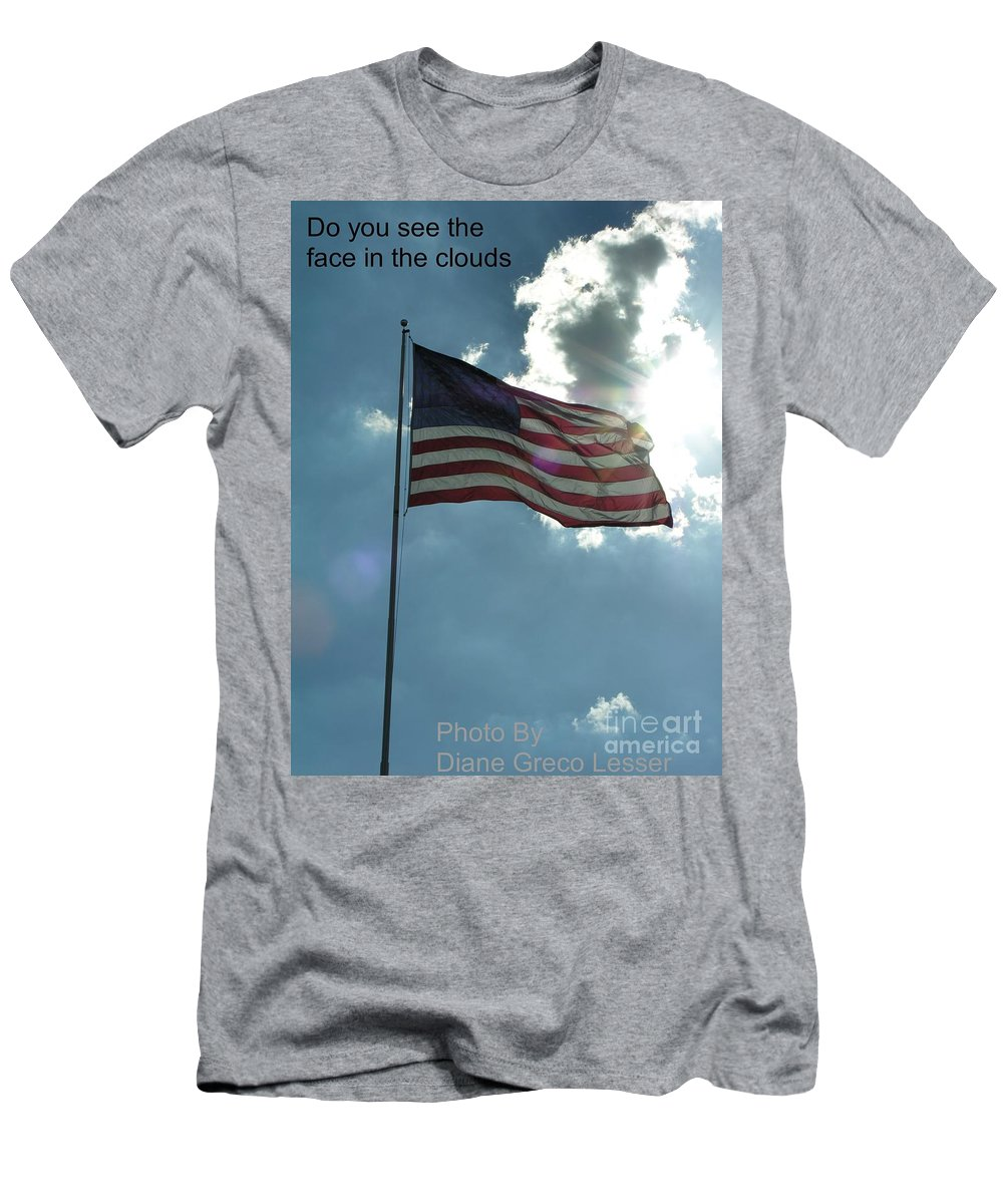 American Men's T-Shirt (Athletic Fit) featuring the photograph Face Of Jesus In Cloud W Flag 9 11 Remembered by Diane Greco-Lesser