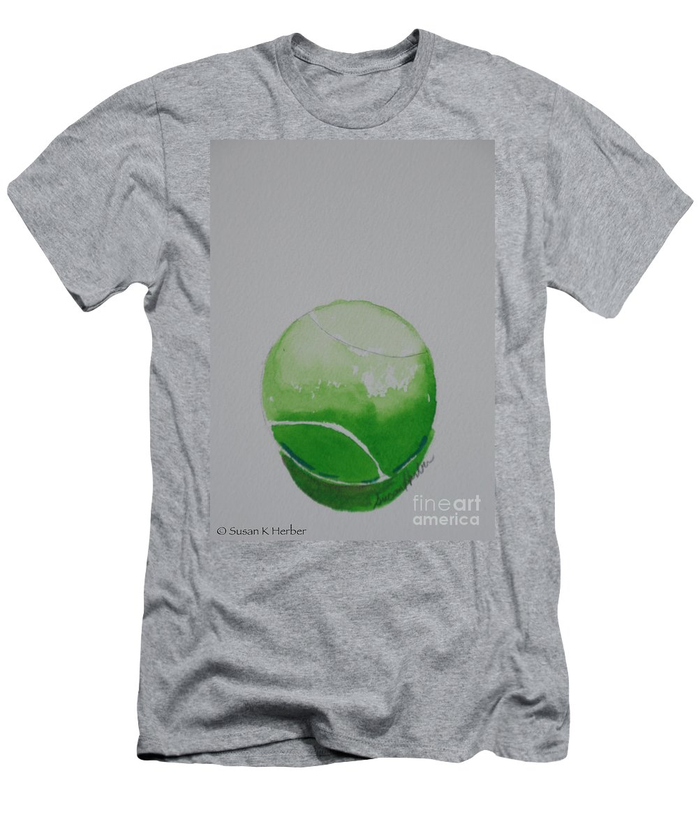 Tennis Ball Men's T-Shirt (Athletic Fit) featuring the painting Fading Green by Susan Herber