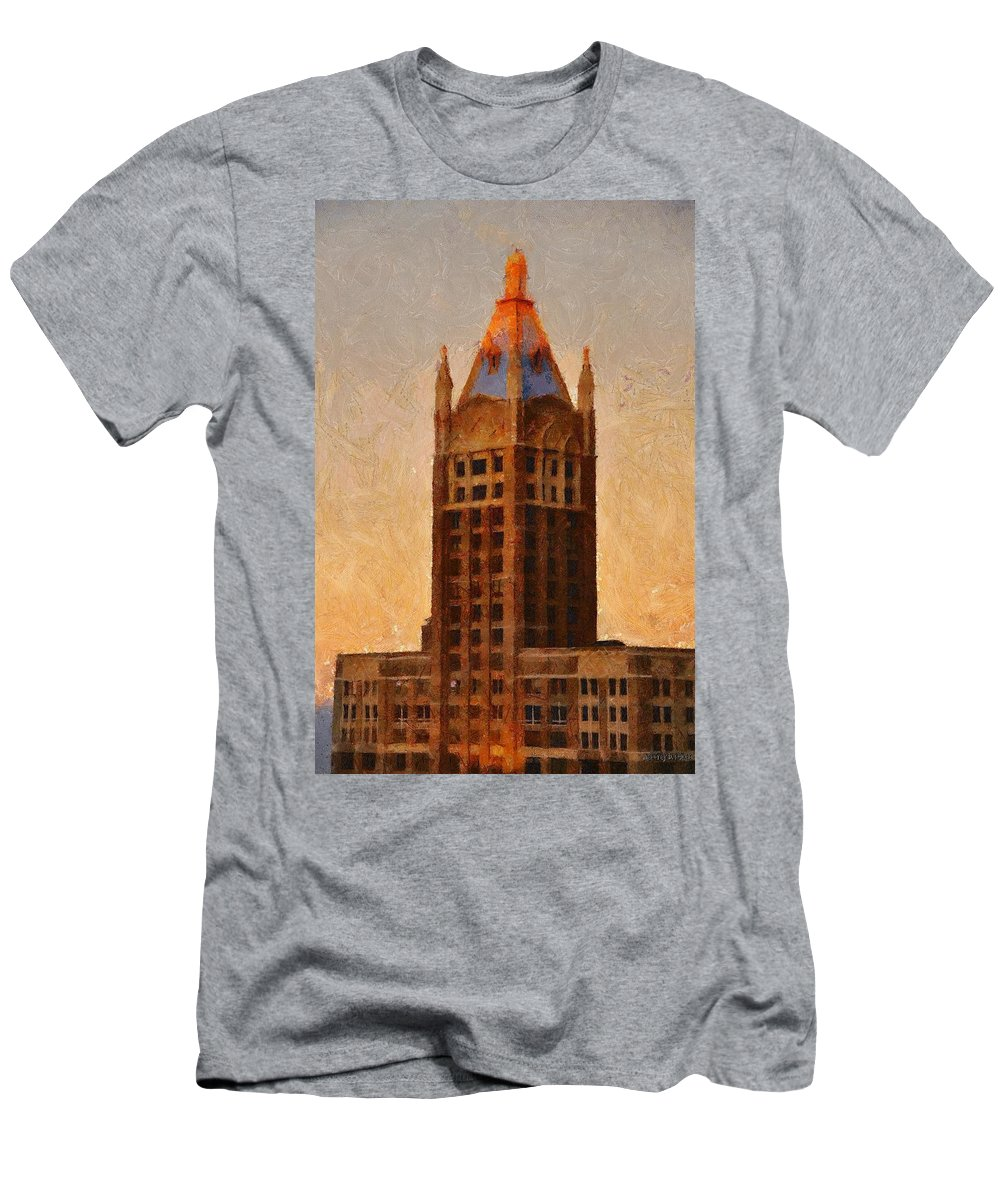 Architecture Men's T-Shirt (Athletic Fit) featuring the painting Fading Slowly Into Night by Jeffrey Kolker