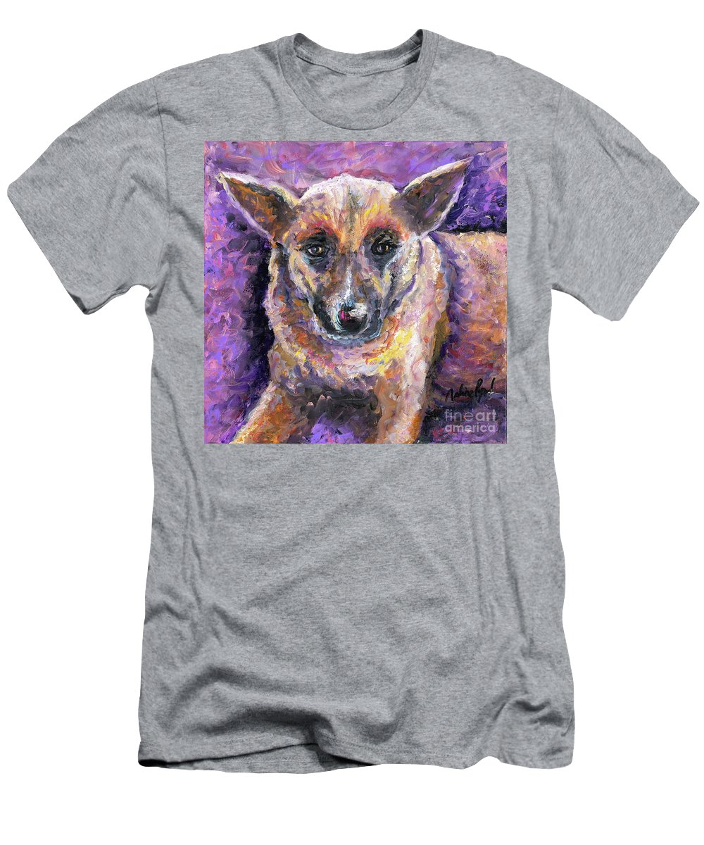 Dog Men's T-Shirt (Athletic Fit) featuring the painting Faithful Friend by Nadine Rippelmeyer