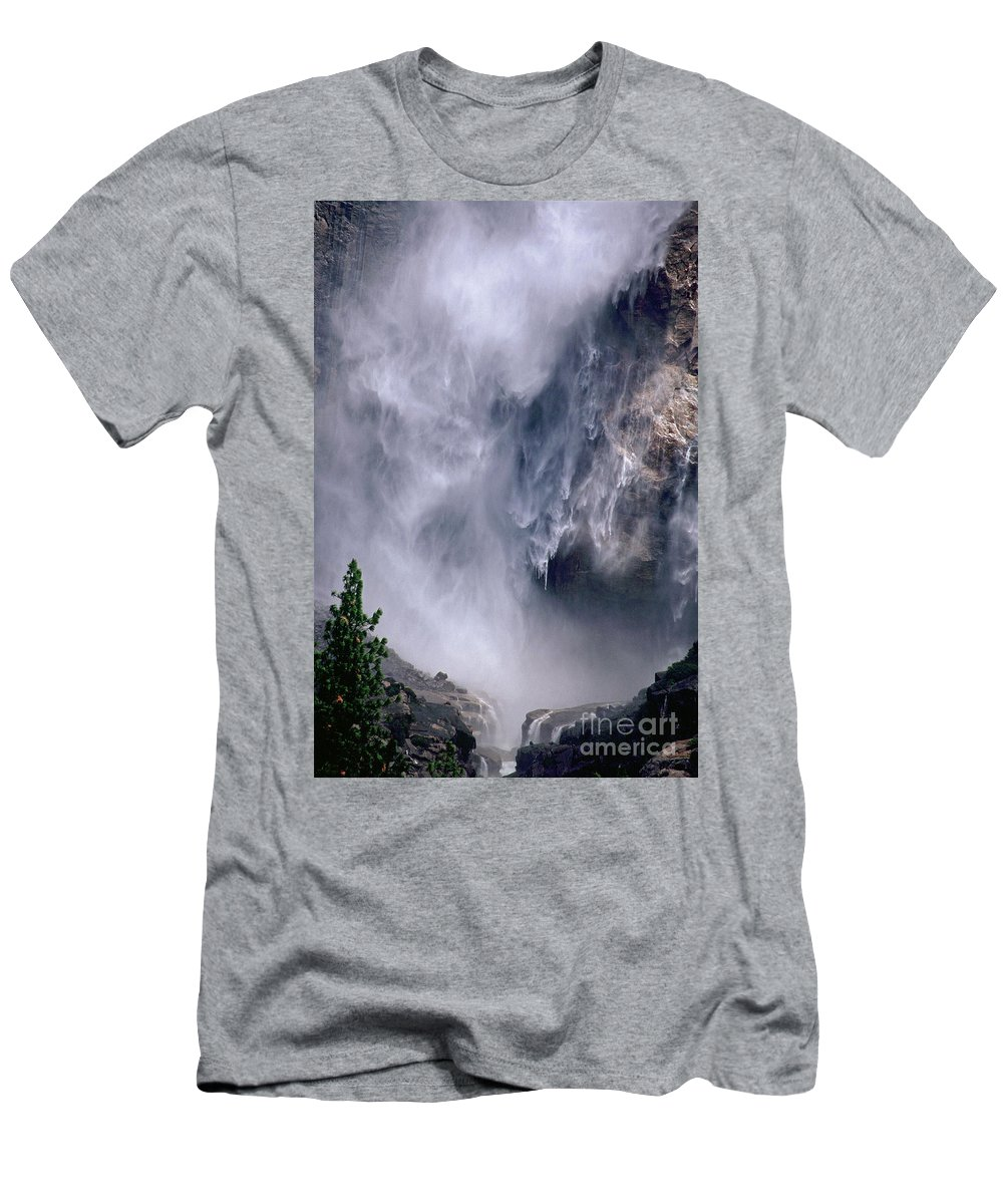 Waterfall Men's T-Shirt (Athletic Fit) featuring the photograph Falling Water by Kathy McClure